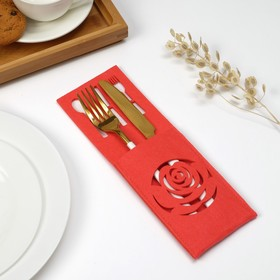 Конверт для столовых приборов Доляна «Роза» цвет розовый, 9х25 см