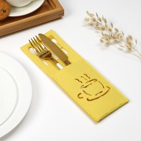 Конверт для столовых приборов Доляна «Кофе» цвет жёлтый, 9х25см