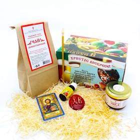 Подарочный набор «Пасхальный»: масло освещённое, 10 мл + мёд монастырский «Семейный», 140 г + чай монастырский, 50 г + мыло «Пасхальное» + скрижаль + свеча