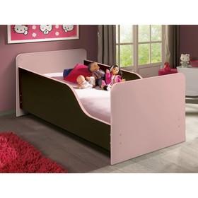 Кровать детская с бортом «Малышка №2», 600 × 1400 мм, цвет венге/ярко-розовый