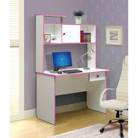 Стол компьютерный №9, 1100 × 580 × 1680 мм, цвет белый/ярко-розовый