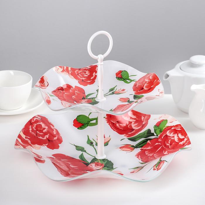 """Этажерка 2-х ярусная 30×21 см """"Розовый рай"""", подарочная упаковка"""