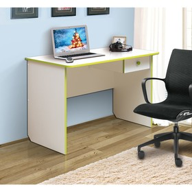 Стол компьютерный №6, 1110 × 580 × 750 мм, цвет белый/лайм