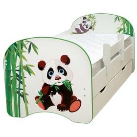 Кровать детская с фотопечатью «Панда», с 2-мя ящиками, 800 × 1900 мм, цвет белый