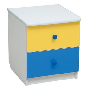 Тумба прикроватная «Радуга», 410 × 440 × 468 мм, цвет белый/жёлтый/синий