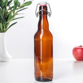 Бутылка бугельная с пробкой 0,5 л, цвет коричневый