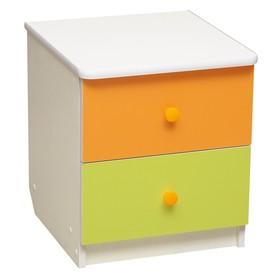Тумба прикроватная «Радуга», 410 × 440 × 468 мм, цвет белый/оранжевый/лайм