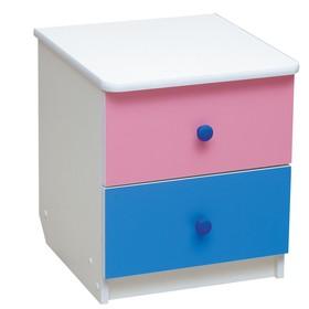 Тумба прикроватная «Радуга», 410 × 440 × 468 мм, цвет белый/ярко-розовый/синий