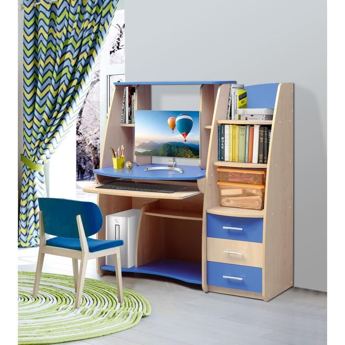 Стол компьютерный №1, 1266 × 650 × 1326 мм, цвет клён/синий