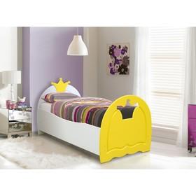 Кровать детская «Корона», 700 × 1400 мм, цвет белый/жёлтый