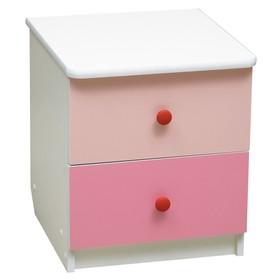 Тумба прикроватная «Радуга», 410 × 440 × 468 мм, цвет белый/ярко-розовый/светло-розовый