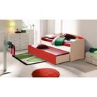 Кровать детская выдвижная, 1942 × 840 × 920 мм, цвет дуб молочный/красный/белый