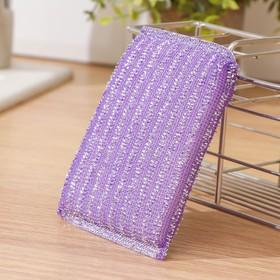 Губка для мытья посуды со стальной стружкой, 12×9×1.5 см, цвет МИКС