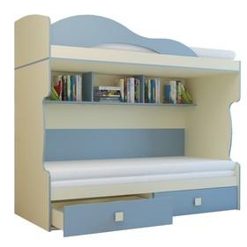 Кровать «Радуга», 2 этаж, тахта, цвет василёк