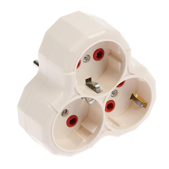 Разветвитель Luazon Lighting, 3 розетки, 16А, с з/к, белый