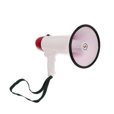 Мегафон ручной, 25 Вт, 400 м, запись 10 сек, сирена, бело-красный