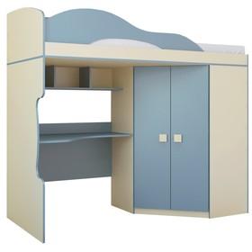 Кровать «Радуга», 2 этаж + шкаф, цвет василёк