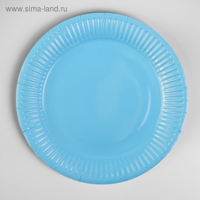 Plate, paper, plain, 18 cm, set of 6 PCs, blue color