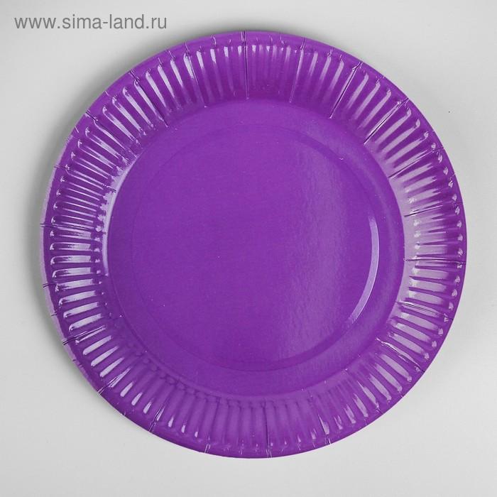 Plate, paper, plain, 18 cm, set of 6 PCs purple color