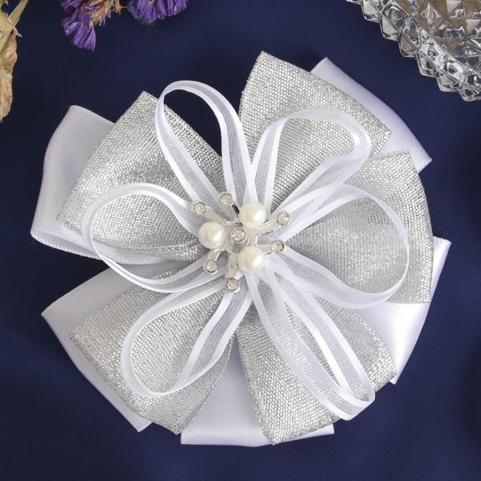 Резинка для волос «Школьница» с бантом (10 см), декор жемчужины, серебро - фото 540575552