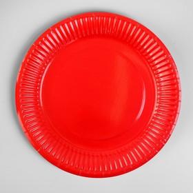 Plate, paper, plain, 18 cm, set of 6 PCs, red