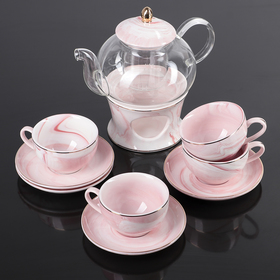 Набор чайный «Марбер», 10 предметов: чайник на подставке с ситом 400 мл, 4 чашки 130 мл, 4 блюдца 12 см