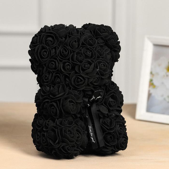 Мишка из роз 25 см, Чёрный