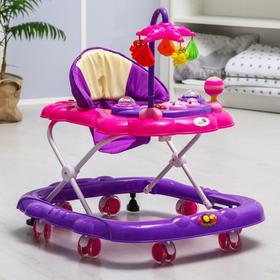 Ходунки «Цветок», 8 силик. колес, тормоз, муз., игрушки, фиолетовый