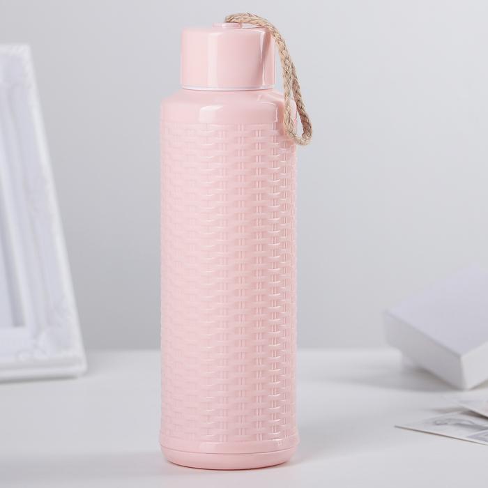"""Бутылка 380 мл """"Рогожка"""", цвет розовый"""