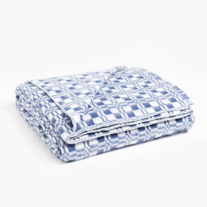 Одеяла байковое 140х205, клетка звездочка, голубой, 80% хлопок, 20% полиэстер