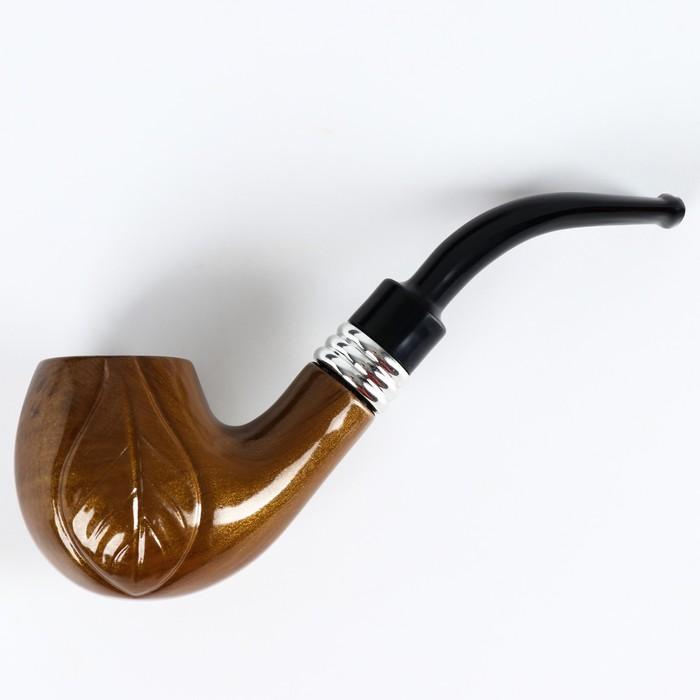 """Трубка """"Командор"""" классическая, с узором, коричневая 8х16.5х4.5 см"""