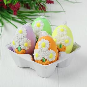 Яйца - подвески для декорирования «Цветочки», набор 4 шт, размер 1 шт: 6×4,5 см