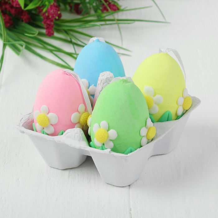 Яйца - подвески для декорирования «Ромашки», набор 4 шт, размер 1 шт: 6×4 см