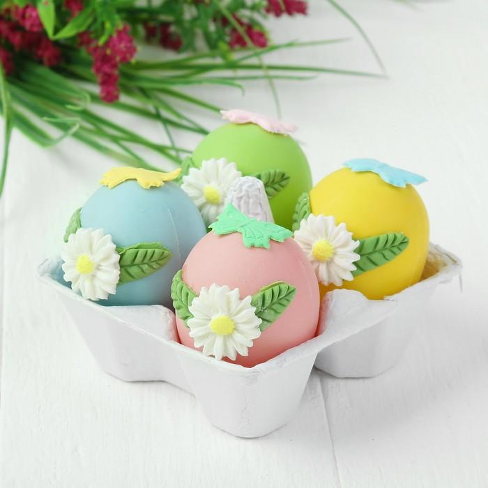 Яйца для декорирования «Цветочки с бабочками», набор 4 шт, размер 1 шт: 6×4 см