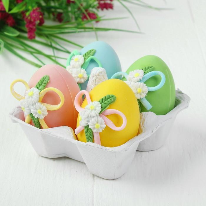 Яйца для декорирования «Цветочки с лентами», набор 4 шт, размер 1 шт: 6×4 см