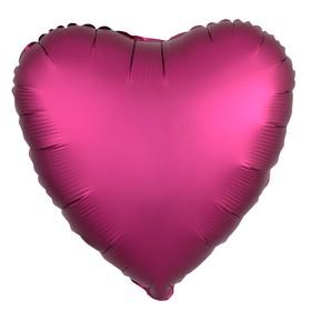 """Шар фольгированный 19"""", сердце, цвет гранатовый, мистик"""
