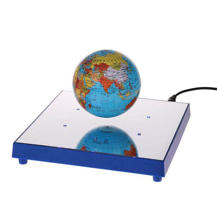 Глобус сувенирный на магнитном поле, с подсветкой, d=8.5 см, английский язык, 220 В