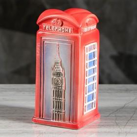 """Копилка """"Телефонная будка"""", глянец, красный цвет, 17 см"""