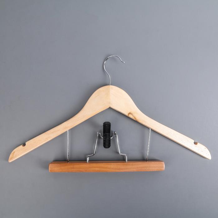 Вешалка-плечики для юбок и брюк с зажимом, дерево эвкалипт, сорт А - фото 4642582