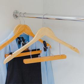 Вешалка-плечики для юбок и брюк с зажимом, дерево эвкалипт, сорт А - фото 4642583
