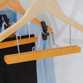 Вешалка-плечики для юбок и брюк с зажимом, дерево эвкалипт, сорт А - фото 4642587