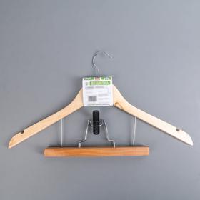 Вешалка-плечики для юбок и брюк с зажимом, дерево эвкалипт, сорт А - фото 4642586