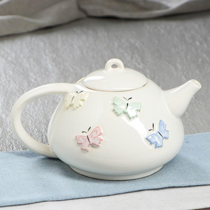 """Чайник для заварки 0,6 л """"Японский"""" светлый голубые цветы"""