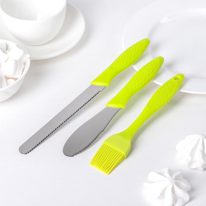 Набор кондитерский 3 предмета: кисть, 2 ножа, цвета МИКС