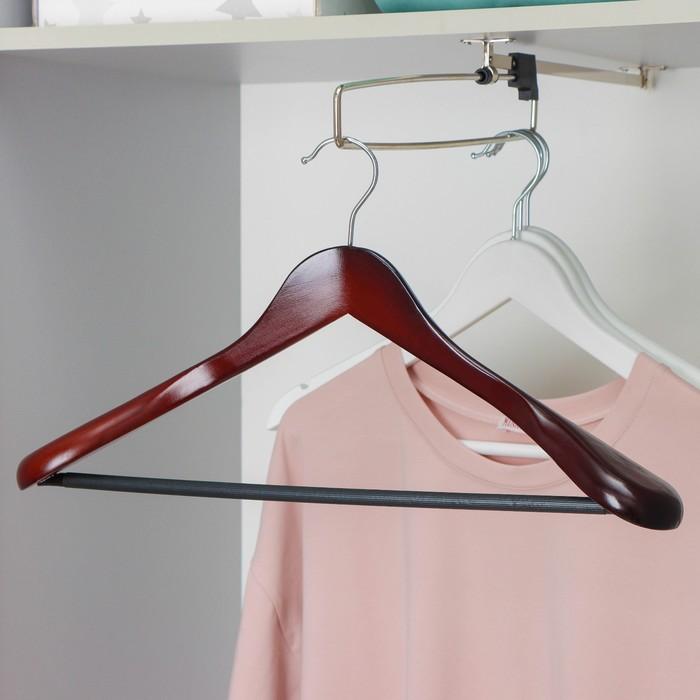 Вешалка-плечики для верхней одежды с перекладиной, размер 44-46, цвет лотос