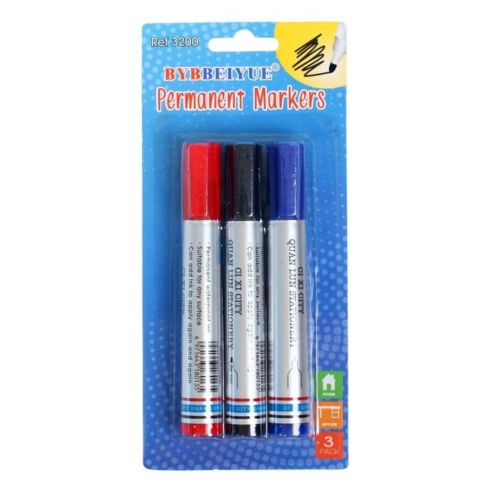Набор маркеров перманентных 3шт. наконечник круглый 4 мм на блистере (синий чёрный красный)