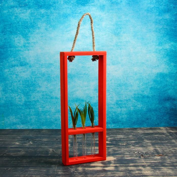 """Кашпо флористическое """"Ваза в рамке"""", ручка верёвка, красное, 3 колбы с Н=15 см"""
