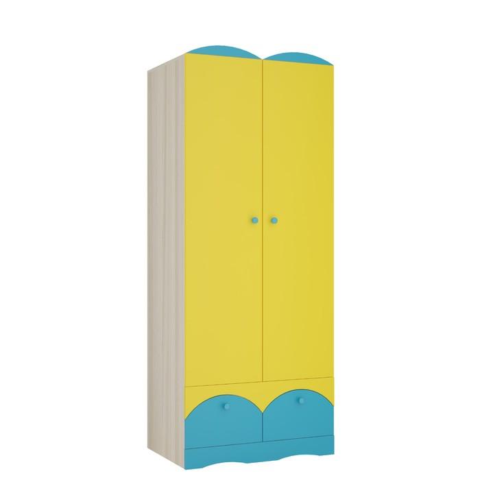 Шкаф 2х дверный Карамель 2, 800х540х2000, Ясень шимо светлый/Желтый/Бирюза