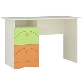 Стол письменный Карамель, 1200х550х750, Бодега светлый/Зеленый/Оранж