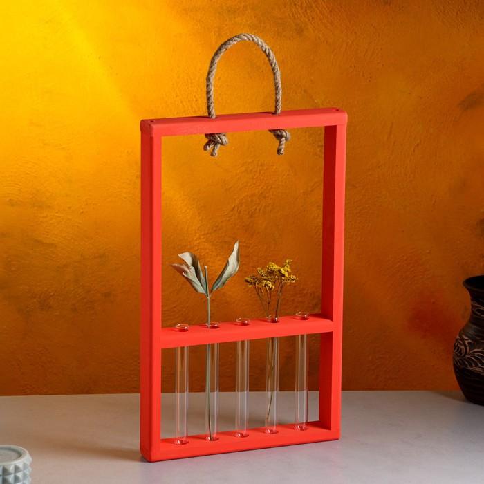 """Ящик-кашпо подарочный с 5 вазами-колбами 15 см """"Рамка Экстра Слим"""", ручка-верёвка, красный"""